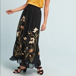 Anthropologie Flounced Floral Maxi Skirt